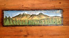 Mountain Scene 4ft. Western rustic landscape art home decor chainsaw carving big sky pine trees wood relief country living wall mount by oceanarts10 on Etsy