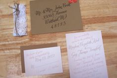 Meghan & Guy's Rustic Southern Wedding Invitations : Kxo Design Southern Wedding Invitations, Wedding Invitation Templates, Envelope Writing, Wedding Events, Wedding Ideas, Weddings, Brown Envelopes, Custom Stationery, Food Pictures