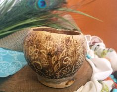 Mother's day decorative bowl flower planter wedding decor coconut shell planter pyrography by RickiTimberTavi by Ricki Timber Tavi. Find it now at http://ift.tt/1qH371I!