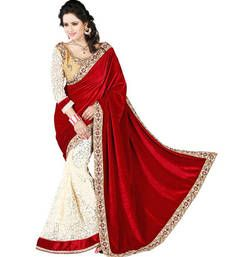 Buy RED embroidered velvet saree with blouse below-1500 online