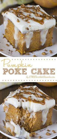 Pumpkin Poke Cake - If you love classic pumpkin cake with cream cheese frosting, then you will surely love this upgraded version of the unbelievably moist Pumpkin cake filled with homemade white chocolate pudding. (pumpkin roll with cream cheese filling) Köstliche Desserts, Chocolate Desserts, Chocolate Pudding, Dessert Recipes, Cupcakes, Cupcake Cakes, Poke Cake Recipes, Pumpkin Dessert, Pumpkin Poke Cakes