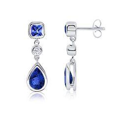 Angara.com: Emerald Cut, Pear Tanzanite and Diamond Earrings    #Angara