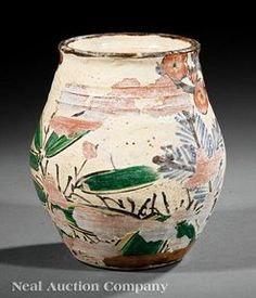 Pottery; Japanese, Kenzan (Ogata), Jar, Ovoid, Prunus, Bamboo & Pine, 7 inch.