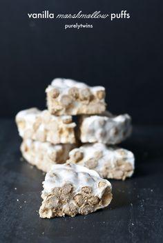 gluten free vanilla protein marshmallow treats recipe #lowsugar #glutenfree #healthysnack