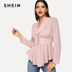 SHEIN offers Button Front Waterfall Peplum Coat & more to fit your fashionable needs. Peplum Coat, Coat Dress, Fashion News, Fashion Outfits, Fashion Clothes, High Fashion, Collar Styles, Office Ladies, Dress Codes