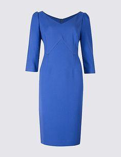 PETITE 3/4 Sleeve Bodycon Midi Dress
