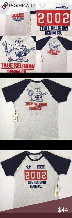 NWT True Religion Men's Raglan Blue Grey T-shirt New with tags, authentic, 50% cotton, 38% polyester, 12% rayon, shirt sleeve, raglan, graphic print **THESE RUN SMALL, WOULD SUGGEST ORDERING ONE SIZE UP** These shirts retail for $81, please do not send me $20 lowball offers. They are 50% off retail which is an amazing deal. Much respect! True Religion Shirts Tees - Short Sleeve