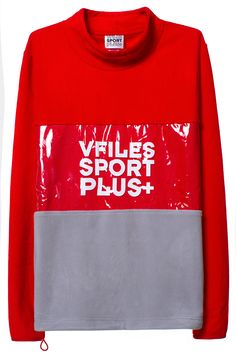 VFILES SPORT PLUS POLAR FLEECE PULLOVER Red and grey fleece pullover featuring plastic panel with VFILES SPORT PLUS+ logo on front, and adjustable bungee cord closure on bottom hem and back of neck. 100% cozy polyester polar fleece. SIZE & FIT Fits true to size. Chynna is 5'10'' (178 cm) tall, and is wearing a size M. Tyler is 6'1'' (185 cm), and is wearing a size M. VFILES SPORT PLUS The in-house, cut-and-sew line of fashion-forward sportswear from VFILES, borne out of demand for a brand…