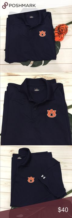🦅 UA-Auburn War Eagles polo style heat gear polo 🦅 UA-Auburn War Eagles polo style collared heat gear polo shirt. This is a navy blue shirt with AU emblem embroidered on left chest. UA symbol embroidered on left sleeve. Small slits at the hem. 3 buttons. Preloved in excellent condition. No picks or flaws. Under Armour Shirts Polos