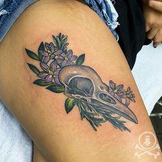 Awesome bird skull and flowers tattoo by Meghan Patrick. #12ozstudios #team12oz #tattoo #tattoos #tattooed #tattooing #tattooism #tattooart #tattooartist #tattooer #tattooist #art #artstudio #tattooshop #tattoostudio #ink #inked #colortattoo #colortattoos #skull #skulls #animalskull #animalskulls #birdskull #skulltattoo #skulltattoos #animaltattoos #flower #flowers #flowertattoo #flowertattoos Skull Tattoos, Animal Tattoos, Meghan Patrick, Bird Skull, Custom Tattoo, Animal Skulls, Tattoo Shop, Color Tattoo, Tattoo Studio