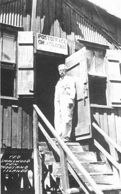 Ted Smallwood on the steps of his famous store that he started in at Chokoloskee Island, Fla., Circa Today you can stand in the same place with little having changed, except Ted passed away around Famous Store, Seminole Indians, Old Florida, Passed Away, Postcards, Ted, Island, Spaces, History