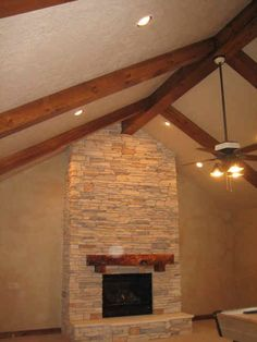 Beams on vaulted ceiling, ceiling fan Vaulted Ceiling Lighting, Vaulted Ceilings, Ceiling Fan, Living Room Redo, Living Room Remodel, Ceiling Design, Ceiling Ideas, Rustic Mantel, Rock Fireplaces
