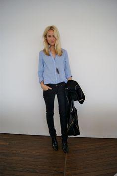 shirt (tucked or untucked) + denim or black pants