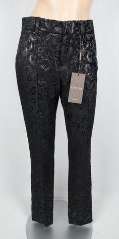 GUCCI New Pants 36 S Black Jacquard 2012 Collection Velvet Floral Silk $549