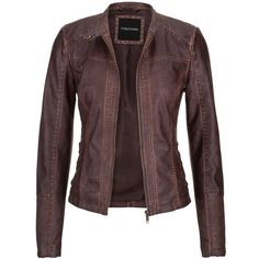 maurices Distressed Moto Jacket With Ribbed Knit Sides In Brown ($44) ❤ liked on Polyvore featuring outerwear, jackets, brown, zip up jacket, brown biker jacket, plus size jackets, brown moto jacket and biker jacket