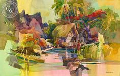 Robert E. Wood - Tropical Light, California art, original California watercolor art for sale, fine art print for sale, giclee watercolor print - CaliforniaWatercolor.com