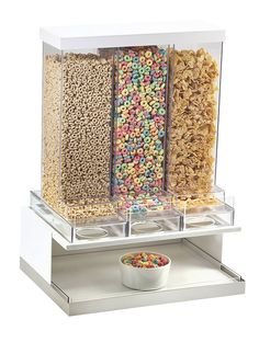 Luxe Three Section Cereal Dispenser Item: 3019.This allows for three different cereal types to be dispensed while maintaining the crisp edges the Luxe Collection is known for. Cereal Dispensers operate independently to not interfere with their neighboring dispensers.http://www.calmil.com/index.php?page=shop.product_details&flypage=flypage.tpl&category_id=38&product_id=1728&option=com_virtuemart&Itemid=18