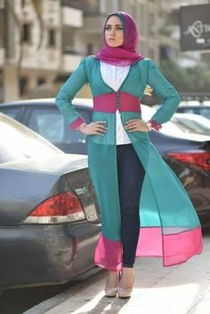 chiffon long cardigan in colorful style- Long cardigans and vests hijab trends http://www.justtrendygirls.com/long-cardigans-and-vests-hijab-trends/