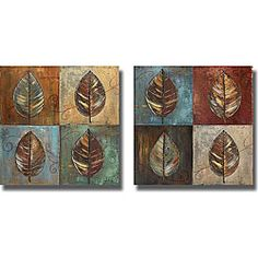P. Pinto 'New Leaf Patch I & II' Canvas Art Set 120