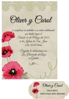 Se realizan diseños exclusivos de invitaciones de boda. Informate en idairaartiles@gmail.com