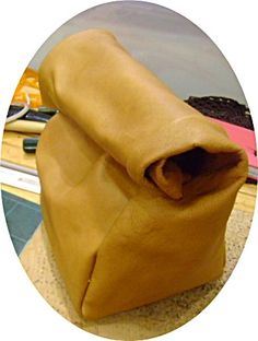 handmade tan leather lunch bag by G2Pleather on Etsy, $35.99