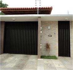 Grande Promoção de Portões de Garagem e Social de Alumínio - Automatização de Portões House Design, Contemporary House Design, Main Door Design, Door Gate Design, House Front, Cool House Designs, Small House Architecture, Two Story House Design, House Front Design