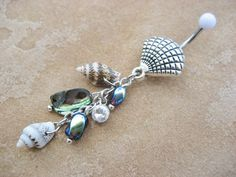 Abalone Shell Belly Button Jewelry Ring Paua by Azeetadesigns