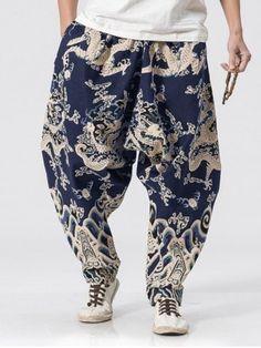 Drop-crotch Dragon Print Harem Pants - multicolor M Harem Pants Fashion, Harem Pants Men, Men's Pants, Mens Clothing Sale, Clothes For Sale, Men's Clothing, Urban Fashion, Mens Fashion, Fashion Outfits