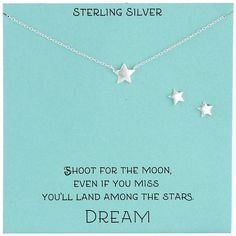 Sterling Silver Star Necklace and Earrings Jewelry Set, 18' ** To view further for this item, visit the image link.