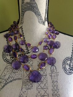 Fabulous Signed Joan Rivers Lavender Purple Lucite Multi Strand Necklace WOW | eBay