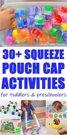30 Squeeze Pouch Cap Activities - HAPPY TODDLER PLAYTIME Looking for fun ways to learn and play with squeeze pouch caps? Check out this amazing list of squeeze pouch cap activities for your toddler or preschooler! Fun Activities For Toddlers, Motor Activities, Indoor Activities, Sensory Activities, Infant Activities, Family Activities, Sensory Play, Toddler Play, Toddler Preschool