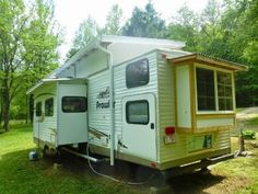 This Kirkwood Travel Trailer Tiny House on Wheels is for sale starting in June 2015 in case you're interested. This custom redesigned travel trailer to tiny home conversion even… Tiny House Swoon, Tiny House On Wheels, Tiny Houses For Sale, Little Houses, Fleetwood Travel Trailers, Alternative Kunst, Corner Bunk Beds, Travel Trailer Remodel, Semi Trailer
