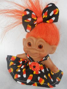 Halloween Troll Doll Dress Handmade 2 - 5 Inch Vintage Dam Wishnik Couture YoYoCottage U-Pick Flower Dresses, Pretty Dresses, Pop Figurine, Doll Quilt, Troll Dolls, Couture Dresses, Miniature Dolls, Flower Brooch, Hair Bows