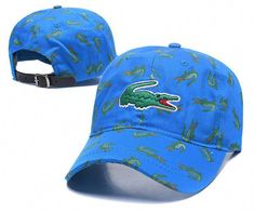 f95e74bae28b4 Men s   Women s Lacoste Full Croc Print Big Crocodile Embroidery Curved Dad  Cap - Blue (