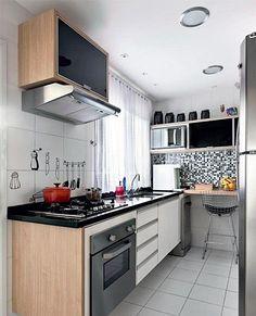 Small Kitchens Design Ideas, Kitchen for Small Spaces, Efficient Small Kitchens, Cozinhas Pequenas, Cozinhas Planejadas Mini Kitchen, Kitchen Dining, Kitchen Decor, Kitchen Cabinets, Cuisines Design, Kitchen Interior, Small Spaces, Sweet Home, Interior Design