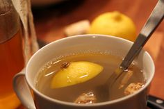 """I keep ginger tea on hand and use it in place of the ginger root. Flu Season Ginger Honey Lemon Tonic  makes one serving    1 cup water  1"""" or so ginger root, roughly chopped  1 lemon wedge  1 teaspoon honey    Bring the water and ginger to a boil, then lower flame, add the lemon simmer for a few minutes. Pour into a mug and stir in the honey. Drink it in good health."""