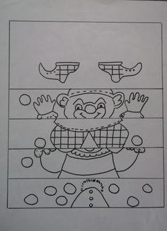 * Maak de clown! TIP: voor de moeilijkheid zou je hem in de lengte nog 1 x kunnen door knippen.