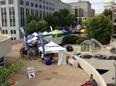 A great view from the rooftop of IRONMAN Wisconsin 2013 race merchandise along Olin Terrace!