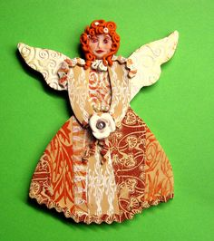 angel in earthtones - polymer clay - by yehudity / yehudit. Very pretty. Interesting idea for ornaments!