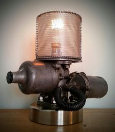 Industrial Style Lamps, Versailles Pattern, Steampunk Lamp, Lamp Ideas, Gothic House, Pipe Lamp, Automotive Art, Vintage Lighting, Dieselpunk