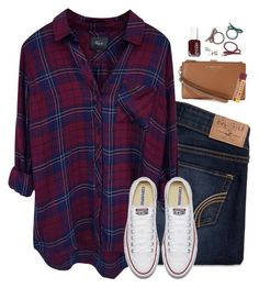 Rails Hunter shirt & converse by steffiestaffie on Polyvore featuring Rails, Hollister Co., MICHAEL Michael Kors, ASOS and Essie