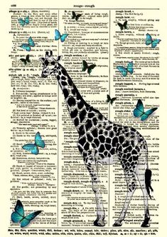 Dictionary Art - Giraffe