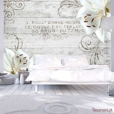"""Availability: on orderResistant, water-rejecting and scratch-proof fleece wallpaper """"Bonne Nouvelle"""". Wallpaper """"Bonne Nouvelle"""" with the inspiring motive will be an effective eye-catch for each interior. Spring Decoration, Decoration Design, 3d Wallpaper Mural, Home Wallpaper, Ceiling Murals, Mural Wall Art, Nature Color Palette, Weaving Art, Floral Wall"""