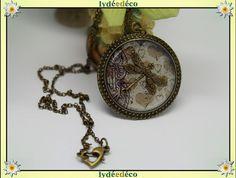 Collier vintage motif coeurs beige Libellule estampe en par LyDDco