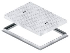 Heavy Traffic Access Covers & Frames A range of heavy-duty single seal covers and frames, manufactured from mild steel chequer plate. Reinforced with bracing where loading requires. Slip resistant pattern with Hot Dip Galvanized finish. Dip, Seal, Frames, Plate, Range, Cover, Pattern, Medium, Salsa