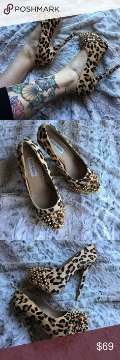 SUPER SEXY Leopard Spike Toe Platforms 😍 Gorgeous! Worn once! No flaws 😍😍 Steve Madden Shoes Platforms