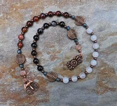 Cat Magic Pagan Prayer Beads Meditation Beads by IndigoDesertMoon