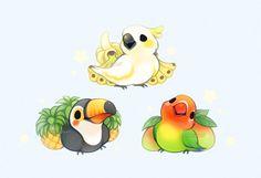 65 ideas fruit illustration kawaii for 2019 Cute Kawaii Animals, Cute Animal Drawings Kawaii, Kawaii Art, Illustration Kawaii, Fruit Illustration, Pet Anime, Anime Animals, Funny Animals, Bird Drawings