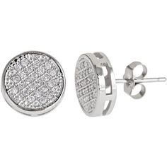 Decadence Sterling Silver Micro-pave Stud Cubic Zirconia Earrings ($27) ❤ liked on Polyvore featuring jewelry, earrings, white, white earrings, cz earrings, cubic zirconia earrings, pave stud earrings and stud earrings