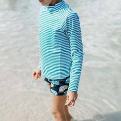 Boys Mint Stripe Long Sleeve Rashie | Sandy Feet Australia